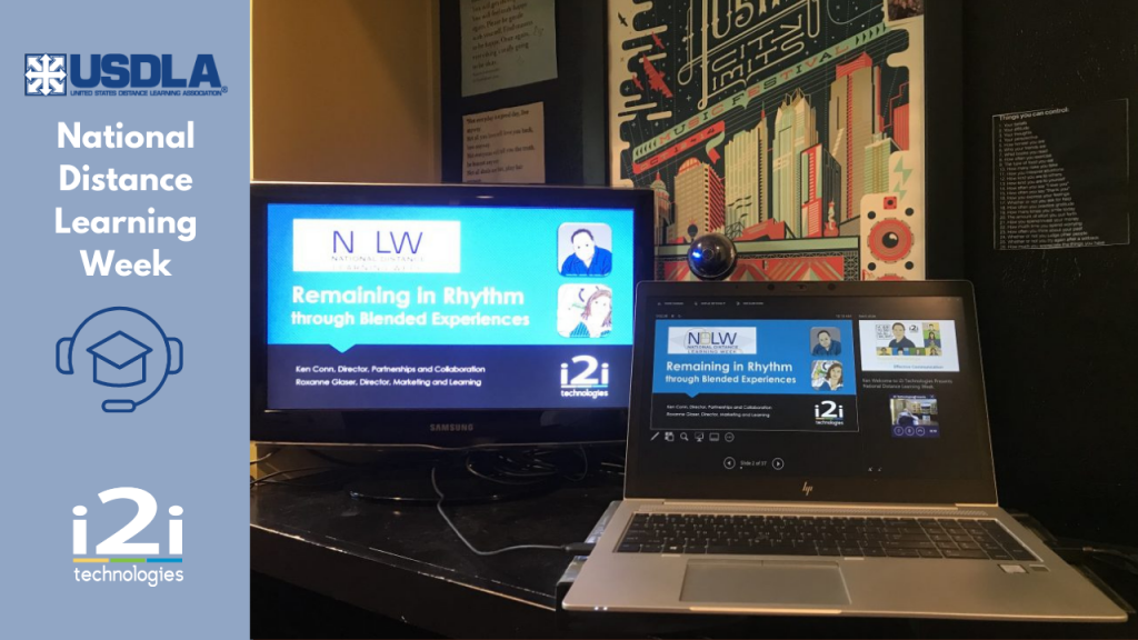 Laptop with a second monitor set up to present information.