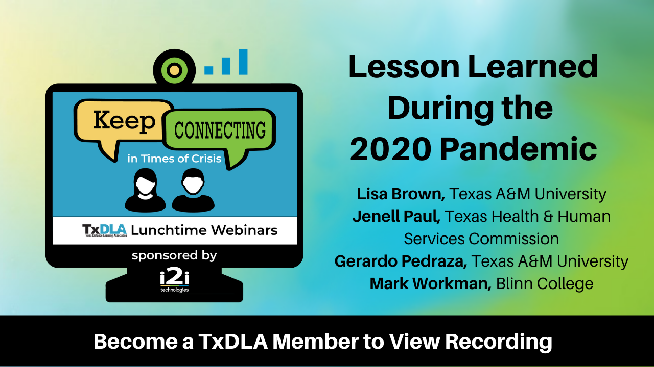 """Green and blue background with black strip across bottom. Graphic of monitor on left with two people inside and talking bubbles saying, """"Keep Connecting"""". Title on right reads Lessons Learned During the 2020 Pandemic"""
