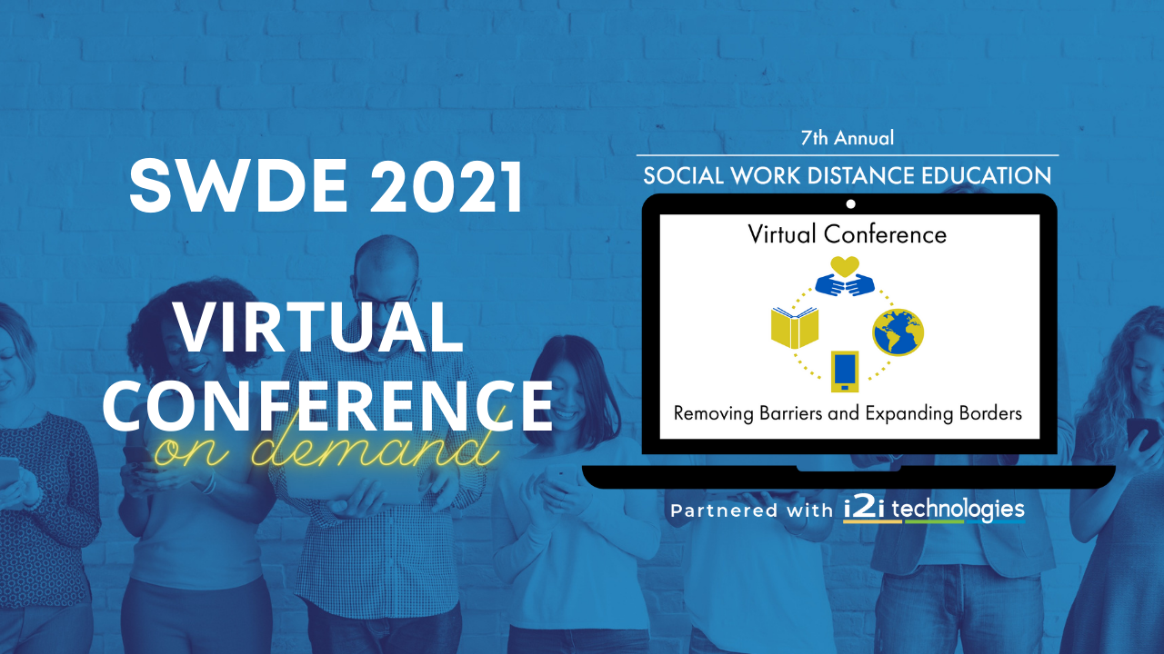 Two women and two men standing in front of a brick wall looking at their mobile devices. SWDE Conference 2021 On Demand is written in front of them