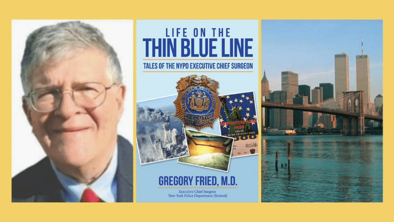 Picture of older white man wearing glasses. Cover of book titled Life on the Thin Blue Line. Picture of New York Skyline with Twin Towers