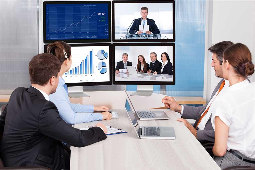 Virtual Team meeting remote presenter showing data