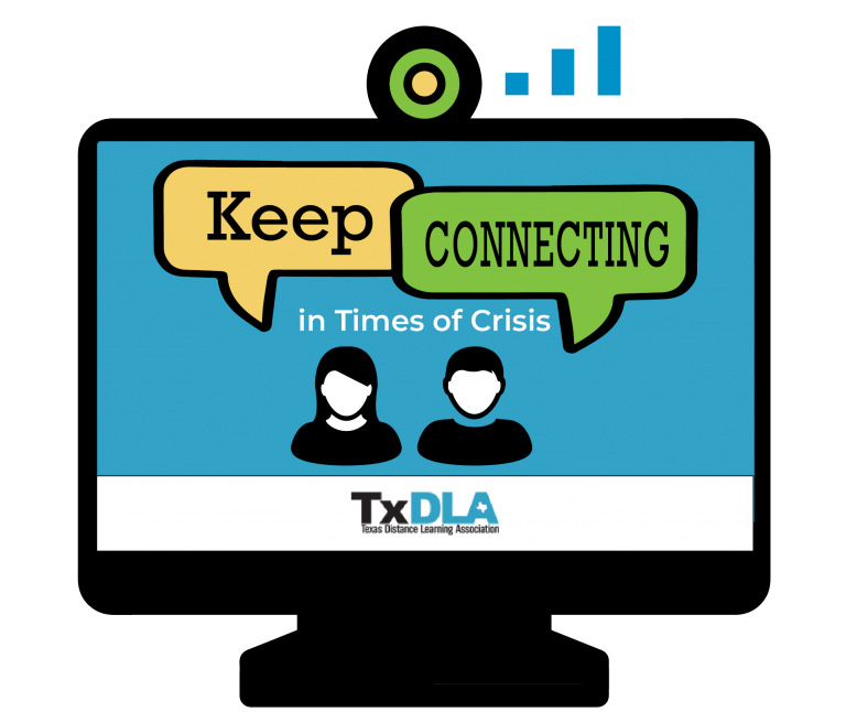 TxDLA Keep Connecting Logo Two People talking on a monitor