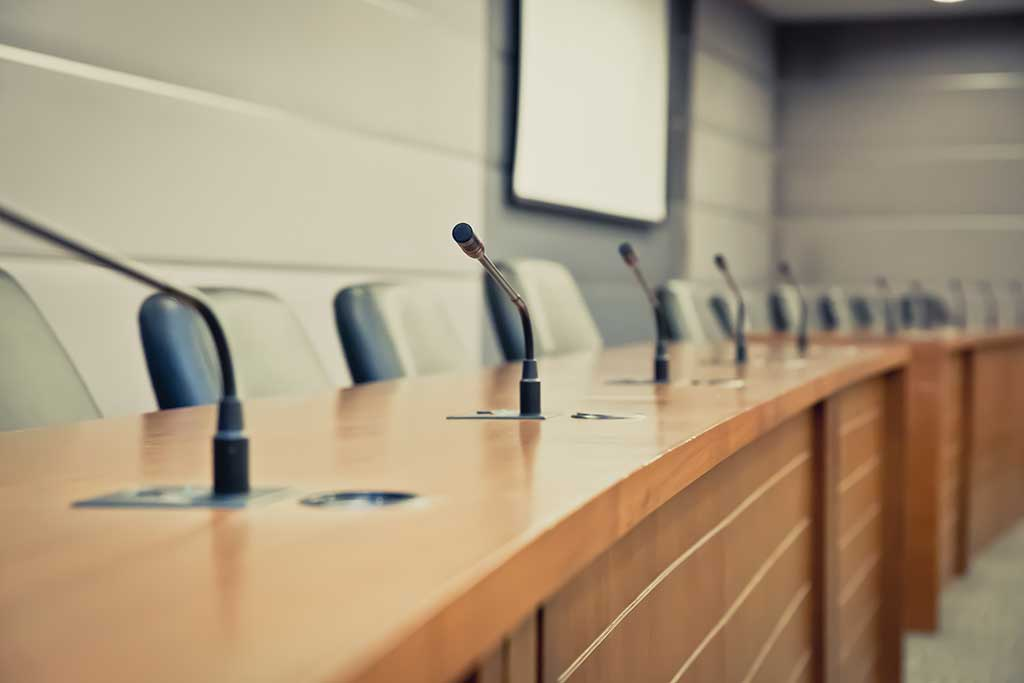 Board room simplified a/v video communications with microphones